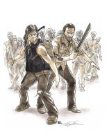 Walking Dead Daryl and Rick Commission by timshinn73