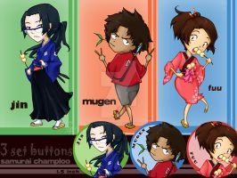 Samurai Champloo - Button Set by noodle-house