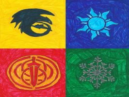 Big Four Hogwarts Crests by Frie-Ice