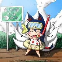 LOL - Ahri and Beach~ by tonnelee