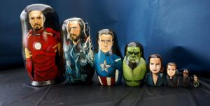 Set of Eight The Avengers Dolls by bachel60