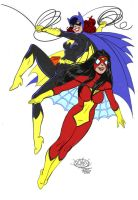 Batgirl and Spiderwoman by markdominic