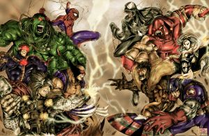 collaboration of marvel by vonrandal