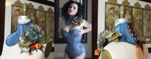 French Blue Floral Neck Corset by ElectraDesigns