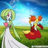 Delphox and Gardevoir by victoriavaporeon