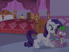Rarity drags Spikey by DubStepina