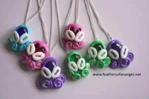 pastel octopi pendants by SongThread
