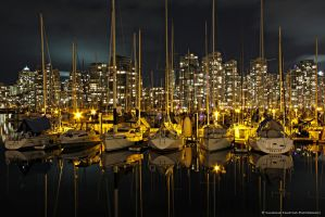 Sailboats at Night II by Val-Faustino