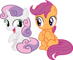 Sweetie and Scoots by NewLunaticRepublic
