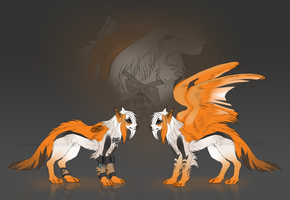 Winged canine hybrid Auction CLOSED by skeletonteaparty