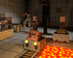 Minecraft Wallpaper - Enderman Laboratory [C4D] by DezTizzy