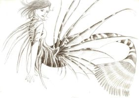 Lionfish Mermaid WIP by reizezdewickid