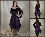 Dark Purple Satin Eight Pointed Pixie Skirt by CrystalKittyCat