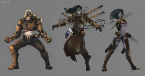 Steam-punk 'influenced' fantasy characters by Br-Artemius