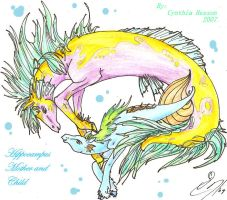 hippocampus mother and child by darkmoongoddess86