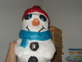 Paper Mache Snowman. by Lyndsey-Catastrphe