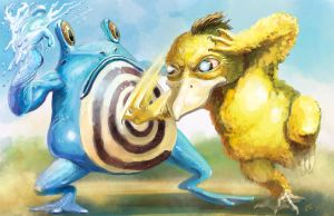 Psyduck vs. Poliwhirl by Ammonite-Amy