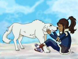Korra and Naga by CuteTreats
