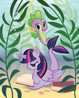 Twili Merpony + Spike Sea Dragon by inki-drop
