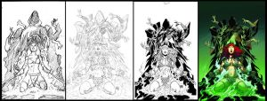 Red Sonja 64 cover process by wgpencil