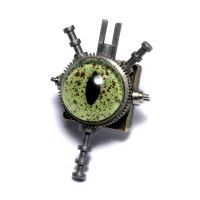 Steampunk Reptile eye pin 3 by CatherinetteRings