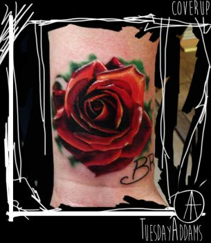 Realistic Rose Coverup Tattoo by TuesdayAddams