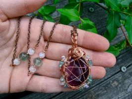 Reversible Fluorite Pentacle Necklace by EireCrescent