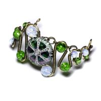Green White Urchin Bracelet by CatherinetteRings