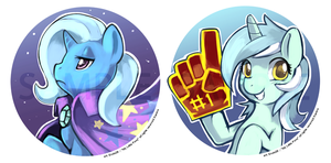 Trixie and Lyra button by Ende26