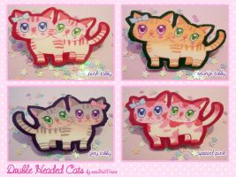 Double headed cats pins by xxxKei87xxx