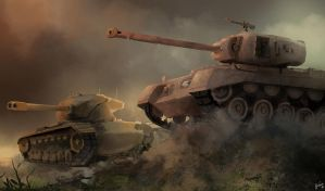 World of Tanks - Patton and T57 Heavy by xraypr
