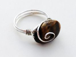 Size 6.25 Tiger's Eye Wire-Wrapped Ring by FaerieForgeDesign