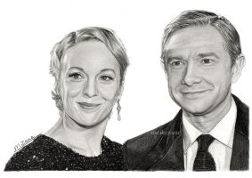 Amanda Abbington and Martin Freeman by MeikeZane