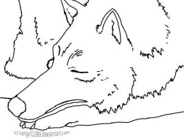Sleeping Wolf Lineart by liongirl2289