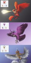 Pokemon Fusions: Kanto Legendary Birds by Legend13