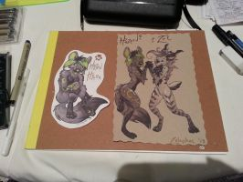 Workbench shot: Badges and sketches at MFF by Zelaphas