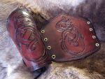 Burgundy Norse Dragon Bracers by TheScreamingNorth