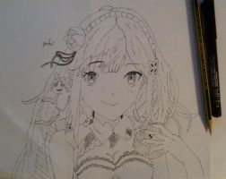 Emilia Line art Sketch from Re:Zero by giolent