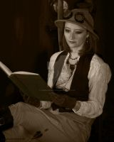 Steampunk Adventurer Day Dreaming in a Pith Helmet by chimeramindstudio