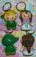 Chibi Link and Zelda keychains by kneazlegurl125