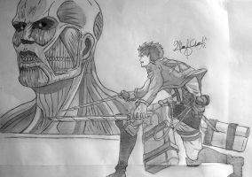 Eren vs Colossal Titan - Shingeki no Kyojin by 1The-God-Of-Art