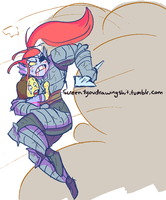 Undyne Saving Frisk by ScreenDrawingShit
