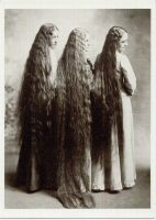 3 long haired women 1900 by PostcardsStock