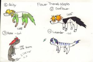 Flower themed adopts (open) #1 is left and is free by XTwilight-SerenityX
