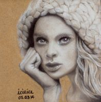 Holly Rose Emery Pastel Pencil Drawing by icieice