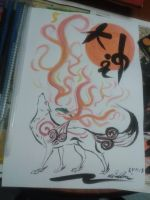 Amaterasu ink and water colour painting by Lugiaisawesome