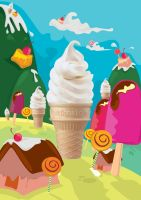 mc.donald ice cone illust by yahyayeye