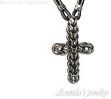 Chainmaille Celtic Cross necklace by Arctida