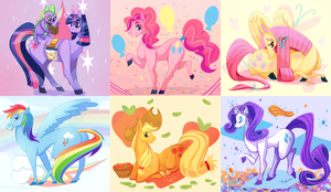 The Mane 6 by Xaiena
