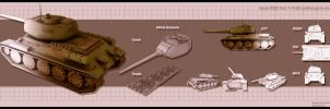 Soviet WWII T34-85 tank LowPoly game model by theGeorgeous